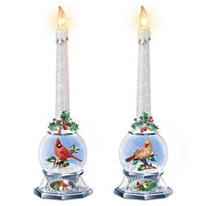 James Hautman Sculpted Songbird Lighted Snowglobe Candle Set