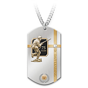 75th Anniversary D-Day Stainless Steel Dog Tag Necklace