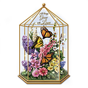 """Delicate Treasures"" Illuminated Butterfly Garden Sculpture"