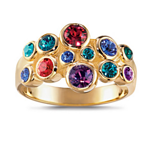 """Jewels Of Canada"" 18K Gold-Plated Crystal Cluster Ring"