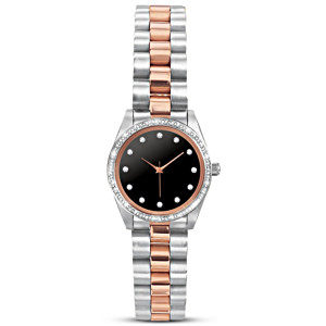"""""""Live In The Moment"""" Women's Swarovski Crystal Watch"""
