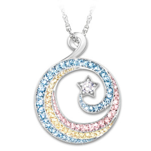 """Rainbows And Stars"" Swarovski Crystal Pendant Necklace"
