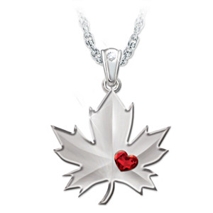 """Proudly Canadian"" Cubic Zirconia Maple Leaf Necklace"