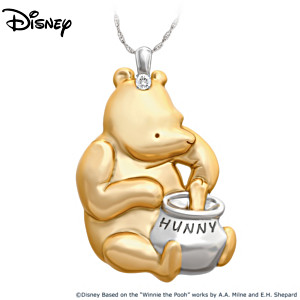 """""""Classic Winnie The Pooh"""" Pendant Necklace With A CZ Crystal"""