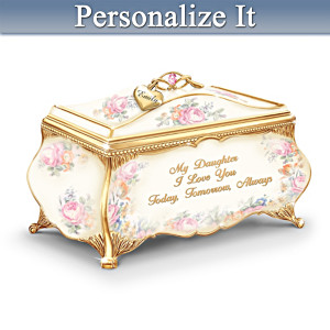 Porcelain Daughter Music Box With Name-Engraved Charm
