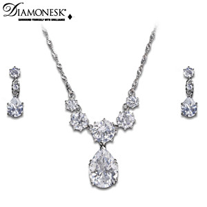 """Coronation Celebration"" Diamonesk Necklace And Earrings Set"