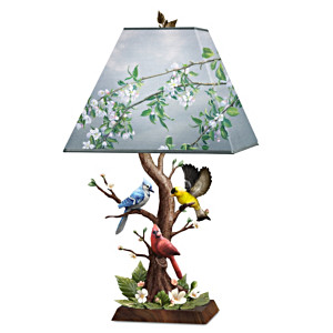 "James Hautman ""Joyous Gathering"" Sculpted Songbird Lamp"