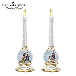Thomas Kinkade Nativity Snowglobe Flameless Candles
