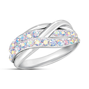 """Aurora"" Swarovski Crystal Ring With Rhodium Plating"