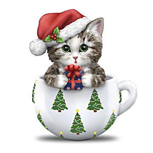 "Kayomi Harai ""Deck The Paws"" Christmas Teacup Cat Figurine"