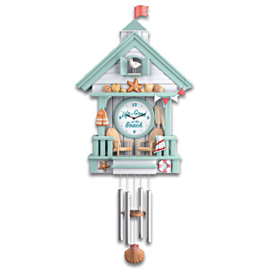"""Life Is Good At The Beach"" Cuckoo Clock With Wave Sounds"