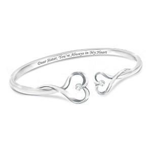 """""""Sisters Forever"""" Engraved Swarovski Crystal Bracelet"""