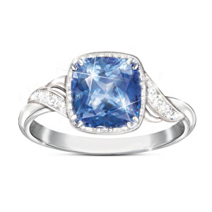 2-Carat Blue Helenite Ring With 10 White Topaz Stones
