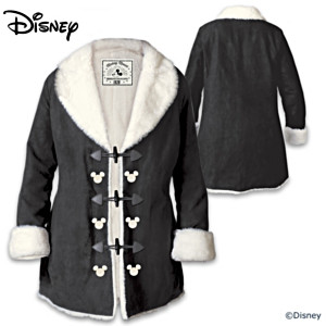 Disney Mickey Mouse Women's Faux Suede And Faux Fur Jacket