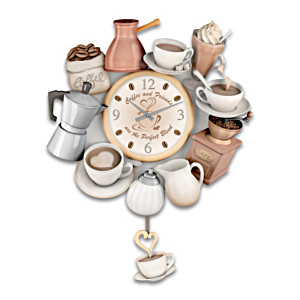 """""""The Perfect Blend"""" Sculptural Wall Clock With Cup Pendulum"""