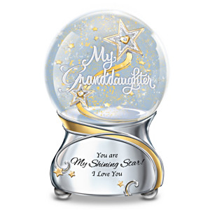 Illuminated Glitter Globe For Granddaughter With Poem Card