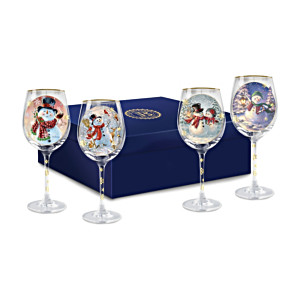 "Dona Gelsinger ""Holiday Cheer"" Wine Glasses: Set of Four"