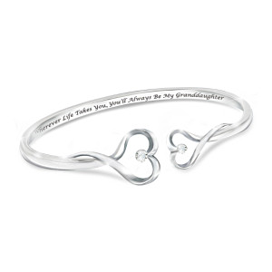 """Always My Granddaughter"" Heart-Shaped Diamond Bracelet"