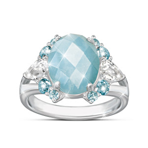 Genuine Aquamarine Ring With Over 5.5 Carats Of Gemstones