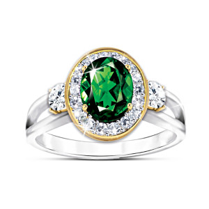 """Earthly Beauty"" Women's Chrome Diopside And Topaz Ring"