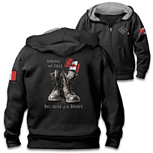"""Strong And Free"" Men's Front-Zip Patriotic-Themed Hoodie"