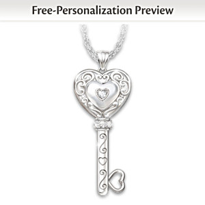 Granddaughter Personalized Diamond Pendant Necklace