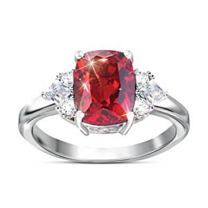 """Rare Wonder"" Red Helenite And White Topaz Women's Ring"