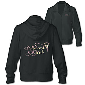 """She Believed She Could"" Embroidered Front-Zip Hoodie"