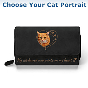 """Paw Prints On My Heart"" Wallet: Choose Your Cat Portrait"