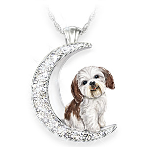Shih Tzu Pup Swarovski Crystal Moon Pendant Necklace
