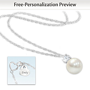 """Precious Daughter"" Personalized Cultured Pearl Necklace"