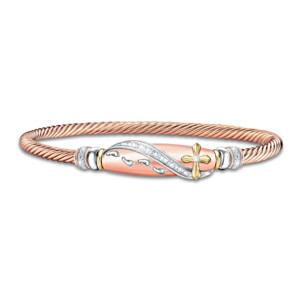 """""""Footprints In The Sand"""" Engraved Copper-Plated Bracelet"""