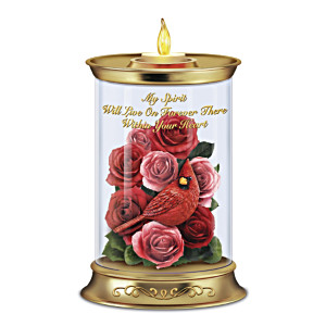 Memorial Flameless Candleholder With Always In Bloom Bouquet