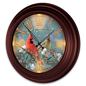 James Hautman Cardinal-Themed Illuminated Atomic Wall Clock