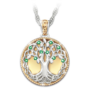 """""""Celtic Tree Of Life"""" Simulated Emerald Pendant Necklace"""