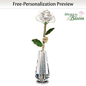 Personalized 24K Gold-Plated Remembrance Rose In Glass Vase