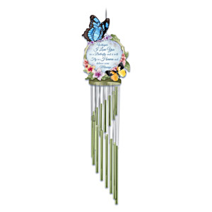 """Messenger To Heaven"" Wind Chime With Sculpted Butterflies"