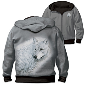 """Spirit Of The Wild"" Men's Reversible Wolf Hoodie"
