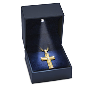 Men's Cross Pendant Necklace For Son With Lighted Box
