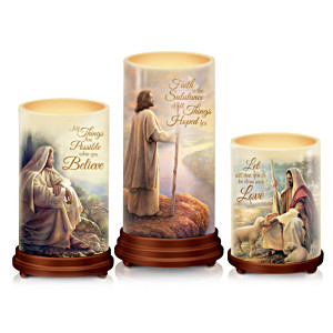"""Pillars Of Faith"" Candle Set With Greg Olsen Biblical Art"