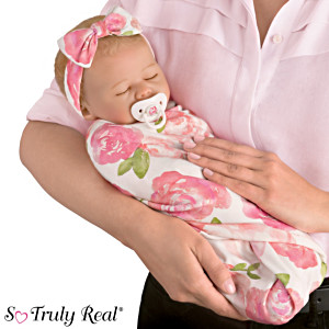 "Marissa May ""Rosie"" Baby Doll With Custom Swaddle Blanket"