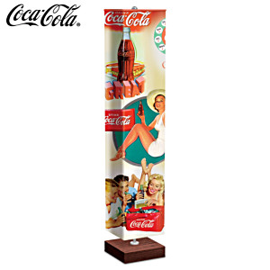 COCA-COLA Floor Lamp With Art On 4-Sided Fabric Shade