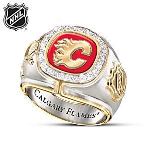 Calgary Flames® Men's Ring With 10 Diamonds