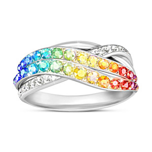 """Fire Rainbow"" Ring With Over 35 Genuine Swarovski Crystals"