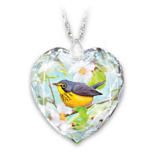 Crystal Remembrance Pendant With Canadian Warbler Artwork