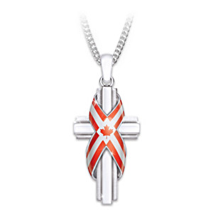 God Bless Canada Religious Cross Pendant Necklace