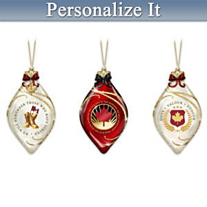 """We Will Remember"" Personalized Illuminated Ornament Set"