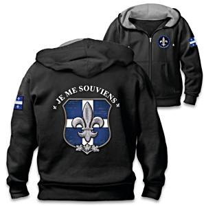 """Spirit Of Quebec"" Zip-Up Hoodie With Embroidered Symbols"