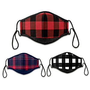 3 Buffalo Plaid Antibacterial Adult Face Masks