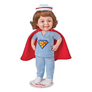 """""""I'm A Nurse! What's Your Superpower?"""" Child Doll With Stand"""